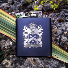 Load image into Gallery viewer, heraldic gifts family coat of arms engraved hip flask