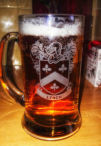 Family Coat of Arms Engraved Beer Tankard