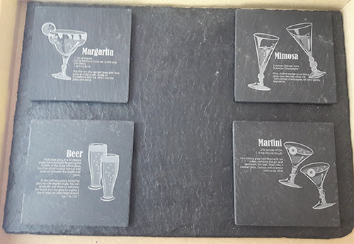 Slate Drinks Coasters Customised Coaster Personalised Coasters Engraved Slate Coasters
