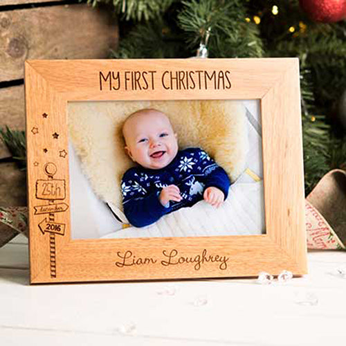 My First Christmas Personalised Photo Frame Engraved Christmas Photo Frame