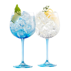 Gin and Tonic Galway Crystal Glassware Gin Glasses Blue Stemmed Glassware Unusual Gin Glass Blue Glass Irish Crystal