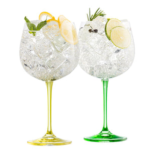 Gin & Tonic Lemon & Lime Galway Crystal Irish Crystal Gin Glasses Gin Glass Lemon & Lime Gin Glass Cocktail Glass
