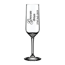 Load image into Gallery viewer, Engraved Wedding Champagne Flute Customised Champagne Flute Personalised Champagne Flute Wedding Glassware Top Table Engraved Champagne Flutes