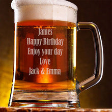 Load image into Gallery viewer, Engraved Happy Birthday Beer Tankard Personalised Beer Tankard 21st Beer Tankard Customised Beer Tankard