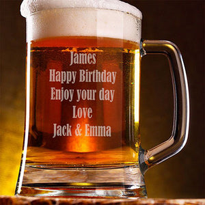 Engraved Happy Birthday Beer Tankard Personalised Beer Tankard 21st Beer Tankard Customised Beer Tankard