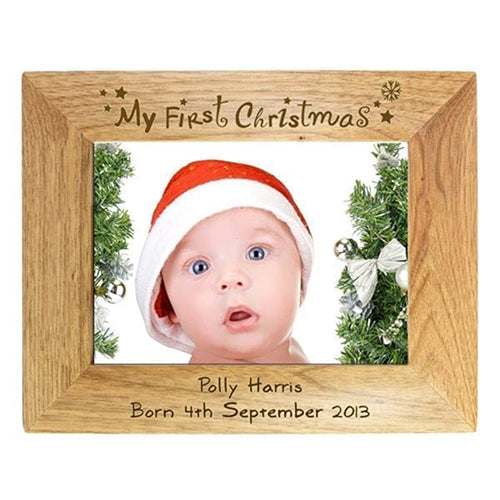 First Christmas Personalised Photo Frame Engraved Christmas Photo Frame