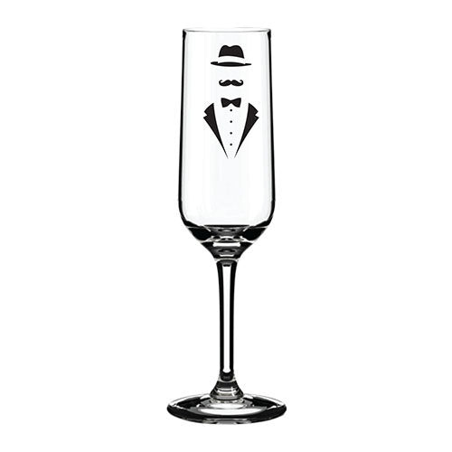 Engraved Champagne Flute Personalised Glass Suit Themed Engraved Flute