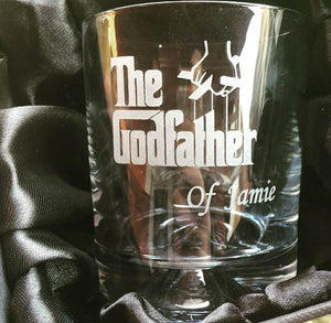 Personalised Whisky Glass The Godfather Engraved Whisky Tumbler Engrave Whisky Glass The Godfather Engraved Whisky Glass