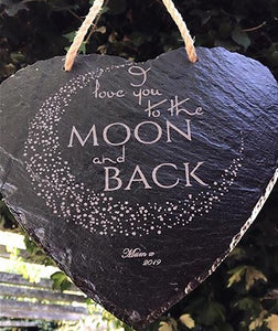 Heart Slate Sign To The Moon and Back