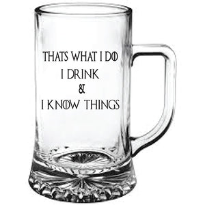 Game of Thrones Engraved Beer Tankard I Drink and I Know Things Personalised Beer Tankard Customised Beer Tankard