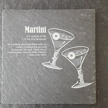 Load image into Gallery viewer, Martini Cocktail Coaster Engraved Slate Personalised Slate Coaster Customised Coasters Slate Coaster