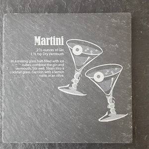 Martini Cocktail Coaster Engraved Slate Personalised Slate Coaster Customised Coasters Slate Coaster