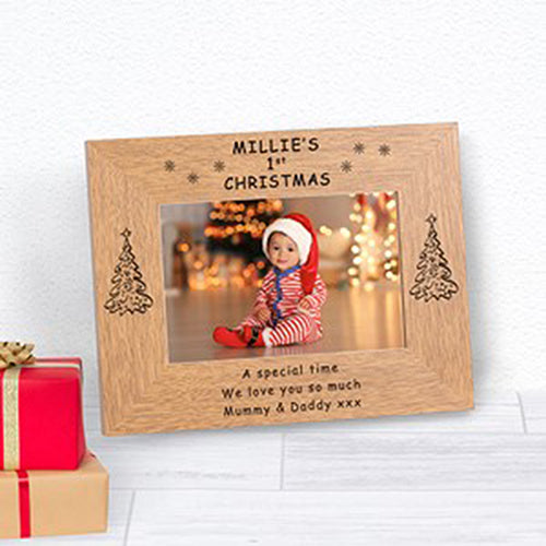 Babys First Christmas Personalised Photo Frame Engraved Photo Frame