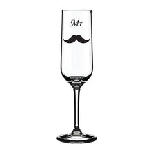 Load image into Gallery viewer, Mustache Themed Engraved Glass Mustache Engraved Champagne Flute Mustache Engraved Wedding Glass  Bridal Party Themed Glassware Bridal Party Engraved Glasses