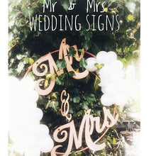 Load image into Gallery viewer, Back Drop Wedding Sign Wedding Mr & Mrs Sign Custom Signs Name Signs Wedding Wooden Mr & Mrs Signs Bride and Groom Wedding Signs Bride Sign Groom Sign Hanging Mr and Mrs Sign