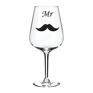 Mr.  Engraved Wine Glass