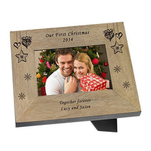 Load image into Gallery viewer, Our First Christmas Personalised Photo Frame Engraved Christmas Photo Frame