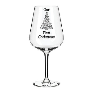 Our First Christmas Engraved Wine Glass Personalised Wine Glass