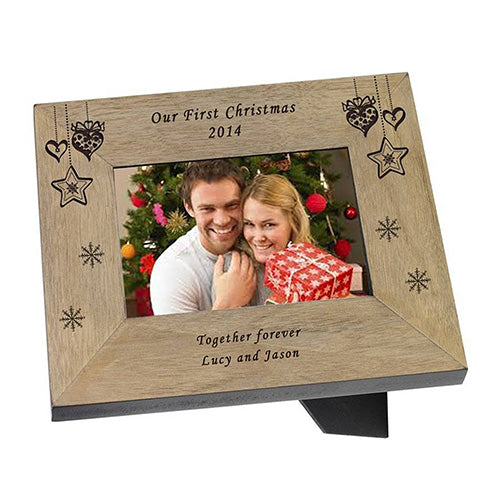 Our First Christmas Personalised Photo Frame Engraved Christmas Photo Frame