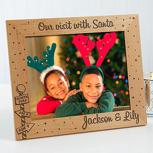 Santa Visit Engraved Photo Frame Personalsied Photo Frame Christmas Photo Frame