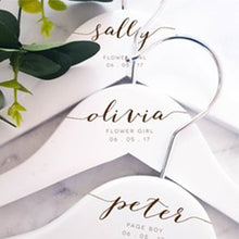 Load image into Gallery viewer, Personalised Flower Girl Wooden Hangers Engraved Flower Girl Wooden Hanger