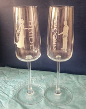 Load image into Gallery viewer, Engraved Bride and Groom Champagne Glasses
