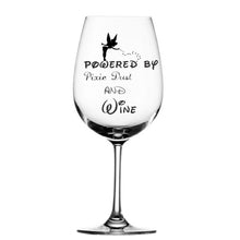 Load image into Gallery viewer, Powered by pixie dust personalised wine glass