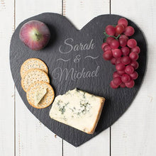 Load image into Gallery viewer, Engraved Personalised Heart Shaped Slate Cheese Board