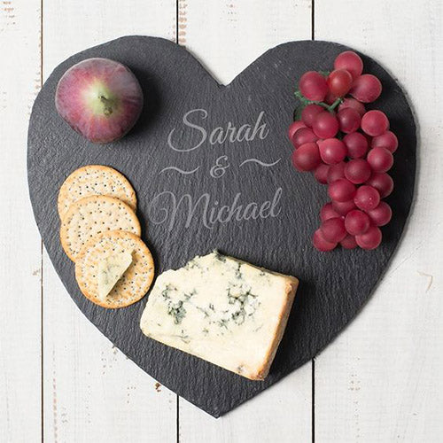 Engraved Personalised Heart Shaped Slate Cheese Board