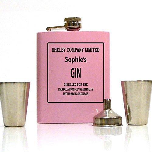 Shelby Company Engraved Pink Hip Flask