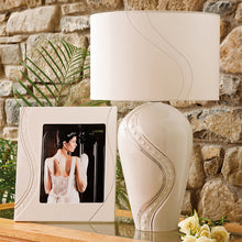 Load image into Gallery viewer, Silver Ripple Belleek Lamp  Irish Pottery Belleek Pottery Irish Pottery on Line Wedding Gift Lamp and Shade Belleek Lamp and Shade Wedding Gift