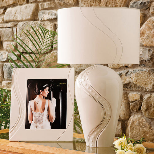 Silver Ripple Belleek Lamp