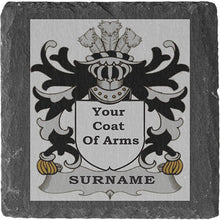 Load image into Gallery viewer, Linage Coat of Arms Family Crest Slate Coasters Engraved Slate Coasters