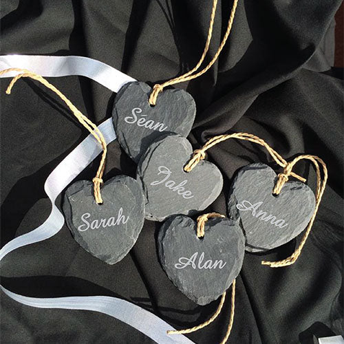 Personalsied Wedding Favours Engraved Mini Slate Hearts