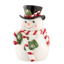Load image into Gallery viewer, Belleek Snowman Cookie Jar