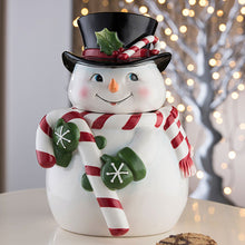 Load image into Gallery viewer, Snowman Cookie Jar Belleek Pottery
