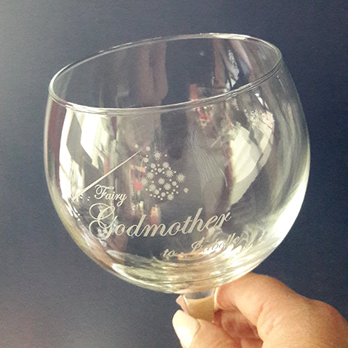 Fairy Godmother Engraved Gin Glass