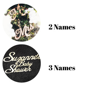 Back Drop Wooden Name Sign