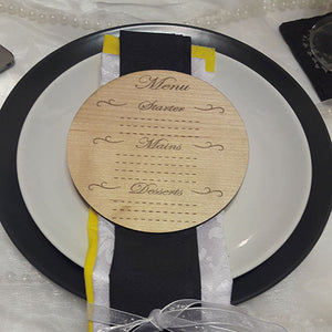 Engraved Rustic Wedding Menu
