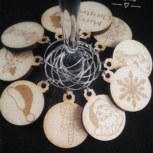 Wine Glass Charms Wooden Christmas Charms