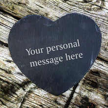 Load image into Gallery viewer, Engraved Heart Shape Slate Cheese Board Personalised Slate Cheese Board