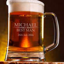 Load image into Gallery viewer, Engraved Best Man Beer Tankard Best Man Gifts Bridal Party Gifts Personalised Beer Tankard Engraved Best Man Gifts