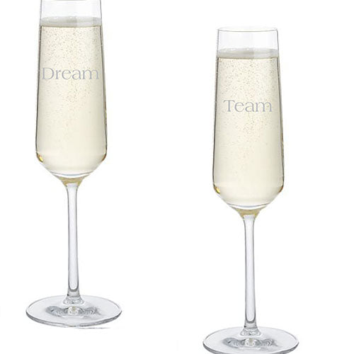 Dream Team Engraved Flutes Personalised Bridal Party Champagne Flutes Engraved Team Bride Champagne Flutes