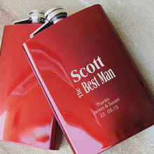 Load image into Gallery viewer, Best Man Engraved Red Hip Flask