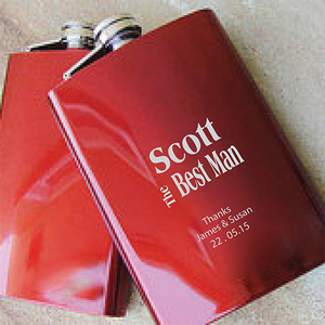 Best Man Engraved Red Hip Flask
