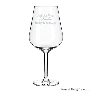 Just Like Wine Engraved Wine Glass