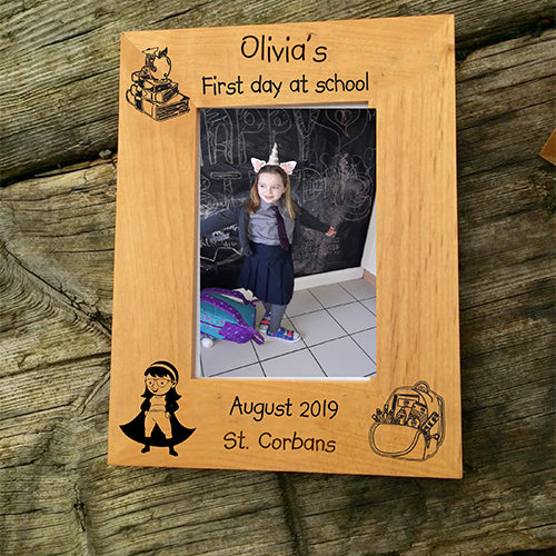 Engraved Photo Frame Personalised First Day at School Photo Frame