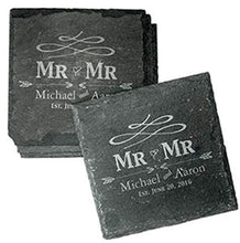 Load image into Gallery viewer, Personalised Same Sex Wedding Gifts Engraved Slate Coasters Personalised Slate Coasters