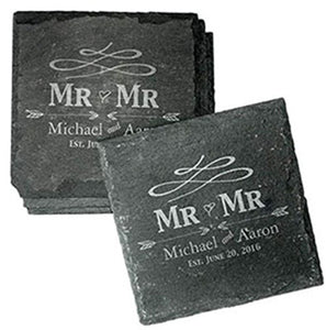 Personalised Same Sex Wedding Gifts Engraved Slate Coasters Personalised Slate Coasters