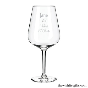 Its Wine O'Clock Engraved Wine Glass Personalised Wine Glass
